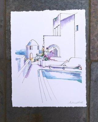 Poolside Santorini