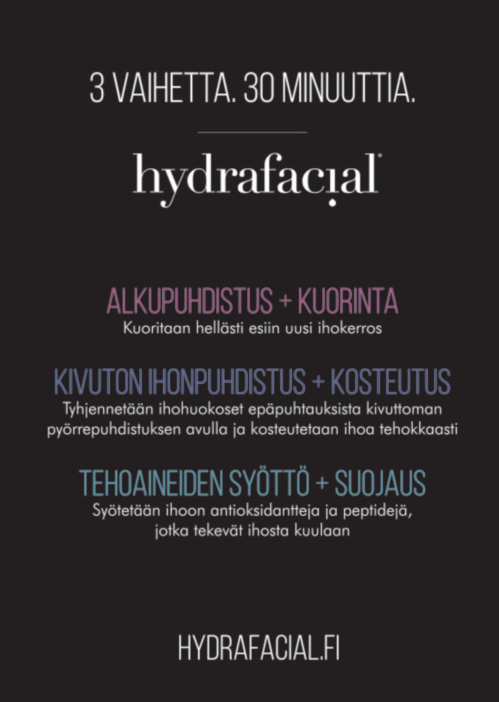 HydraFacial kivuton ihonpuhdistus Clean&Hydrate