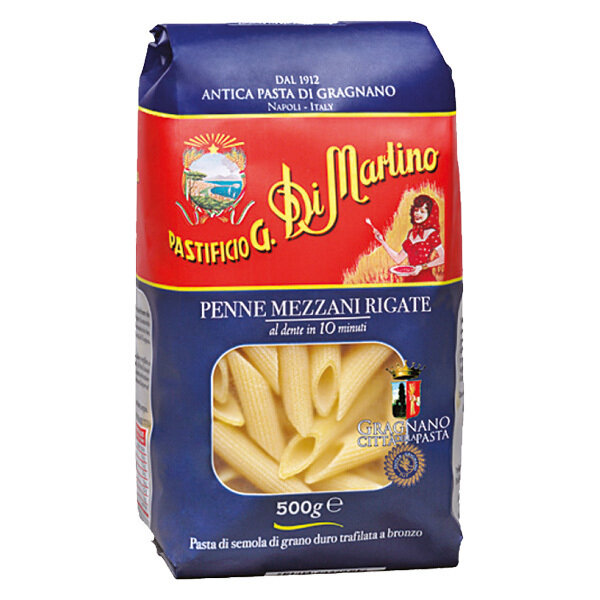 Lyhyt Pasta Penne Rigate | Short Shapes Pasta | DI MARTINO | 500 G