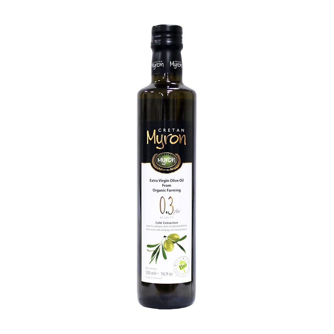 Luomu Ekstraneitsytoliiviöljy happoisuus 0,3 % | Organic Low Acidity Extra Virgin Olive Oil | CRETAN MYRON | 500 ML