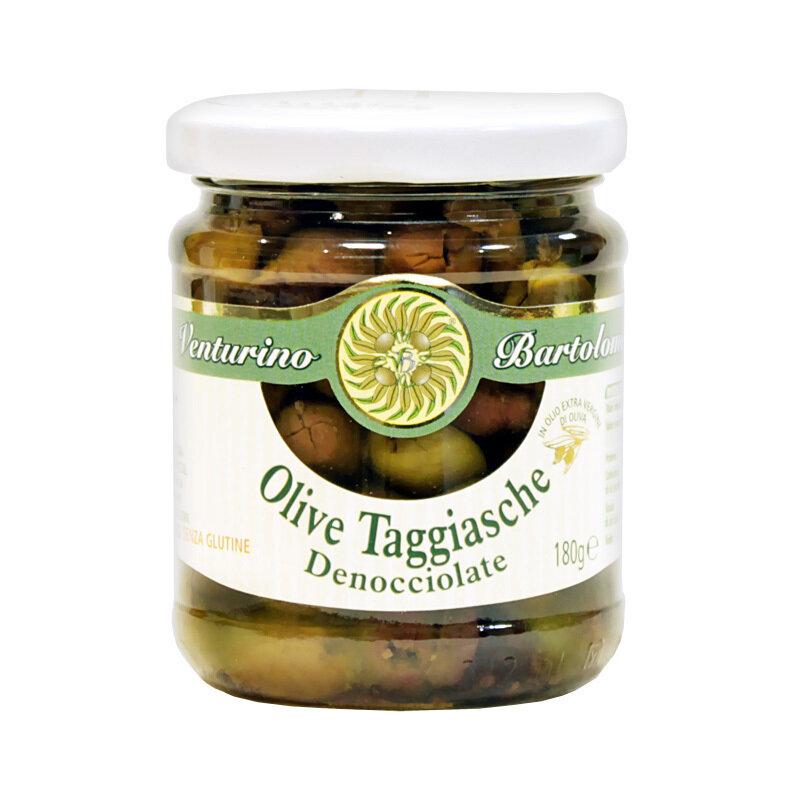 Kivettömät Oliivit Taggiasca Ekstra- Neitsytoliiviöljyssä | Taggiasca Pitted Olives In Evoo | VENTURINO | 180 G