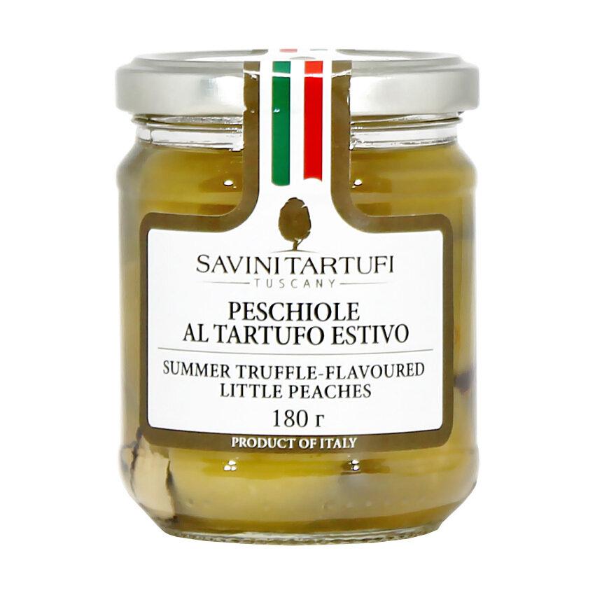 Persikat & Kesätryffelit | Green Peaches With Summer Truffles in Oil | SAVINI TARTUFI | 180 G