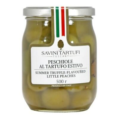 Green Peaches & Truffles in Oil | SAVINI TARTUFI | 500g