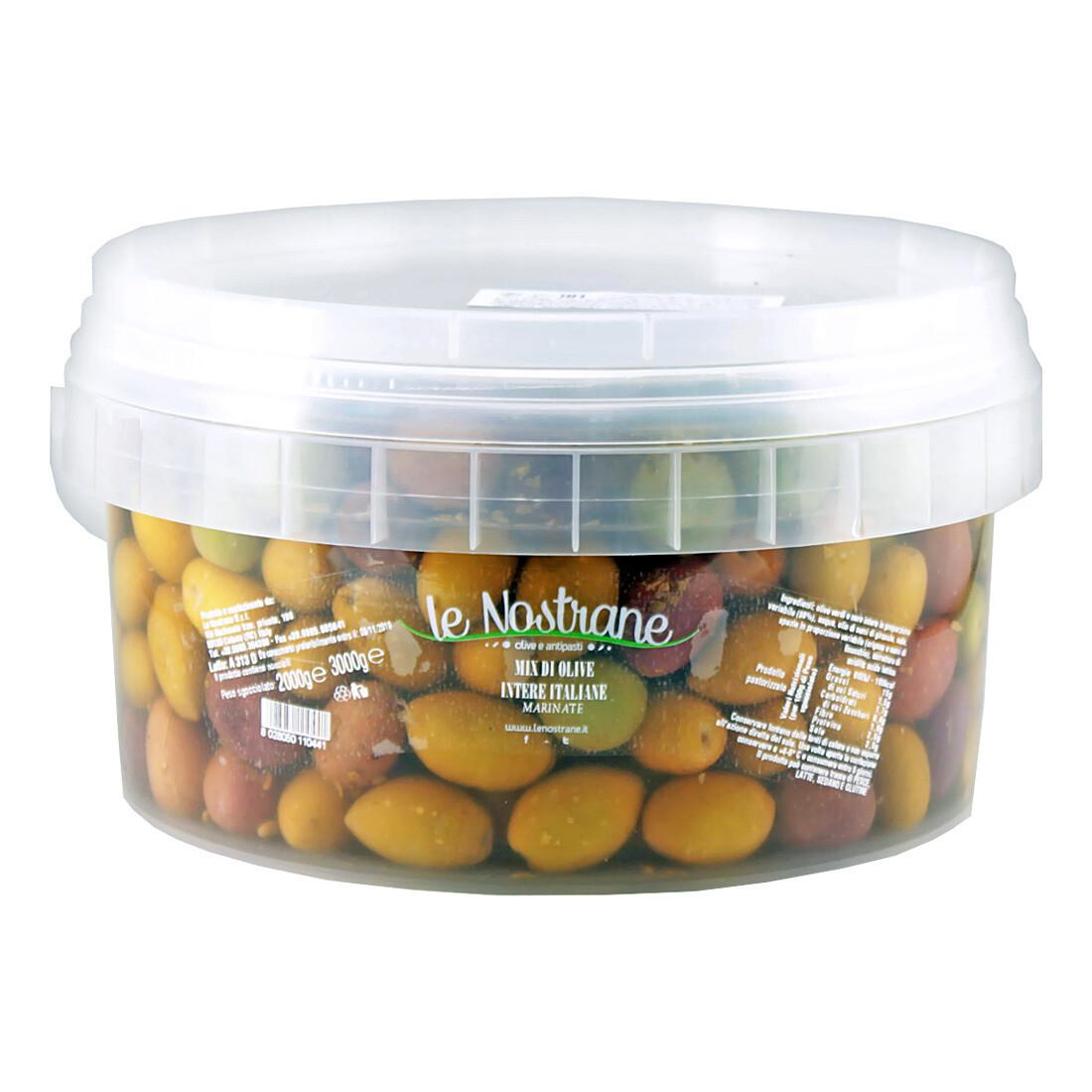 Italialaiset Kivelliset Oliivit Italian Mix -sekoitus | Italian Mix Whole Olives | LE NOSTRANEN | 3kg