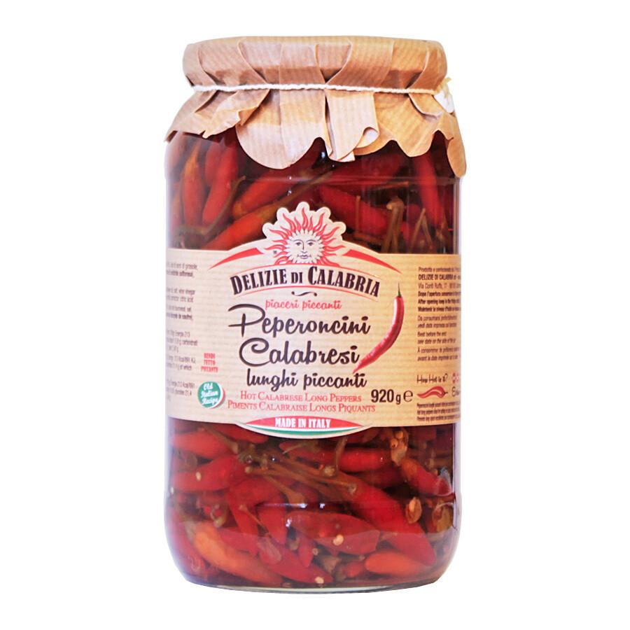 Peperoncino Calabrese Kokonaiset Chilit Öljyssä | Whole Hot Long Peppers | DELIZIE DI CALABRIA | 920 g