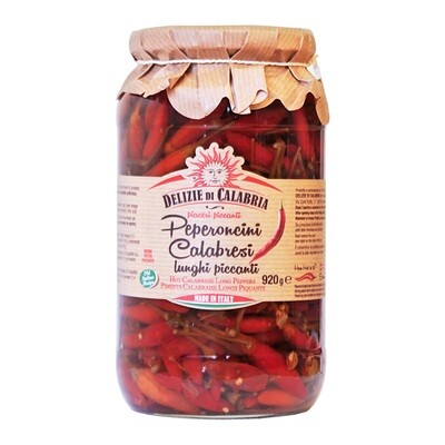Peperoncino Calabrese Kokonaiset Chilit Öljyssä | Whole Hot Long Peppers | DELIZIE DI CALABRIA | 920 g