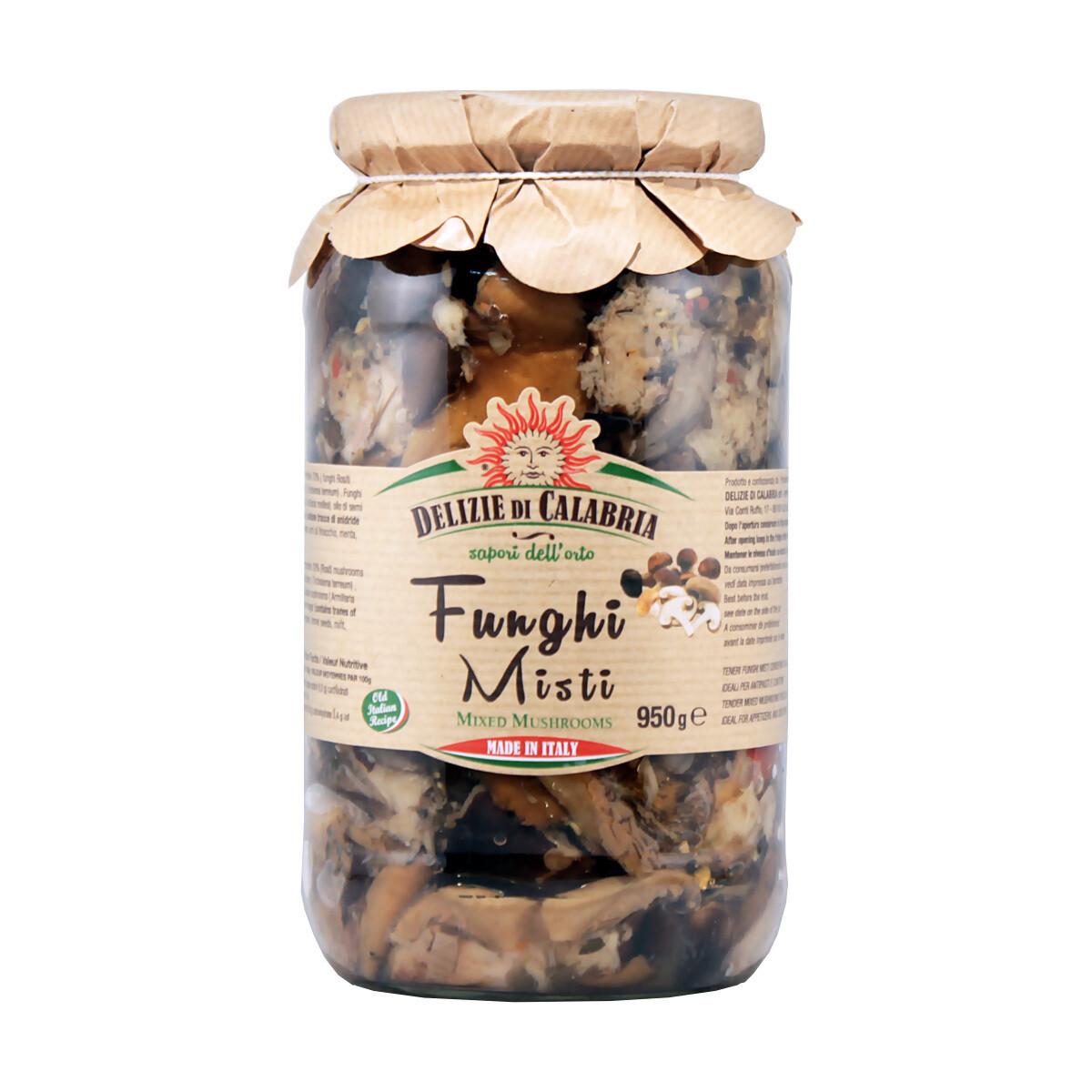 Sekoitetut Calabrialaiset Sienet | Mixed Calabrian Mushrooms | DELIZIE DI CALABRIA | 950 g