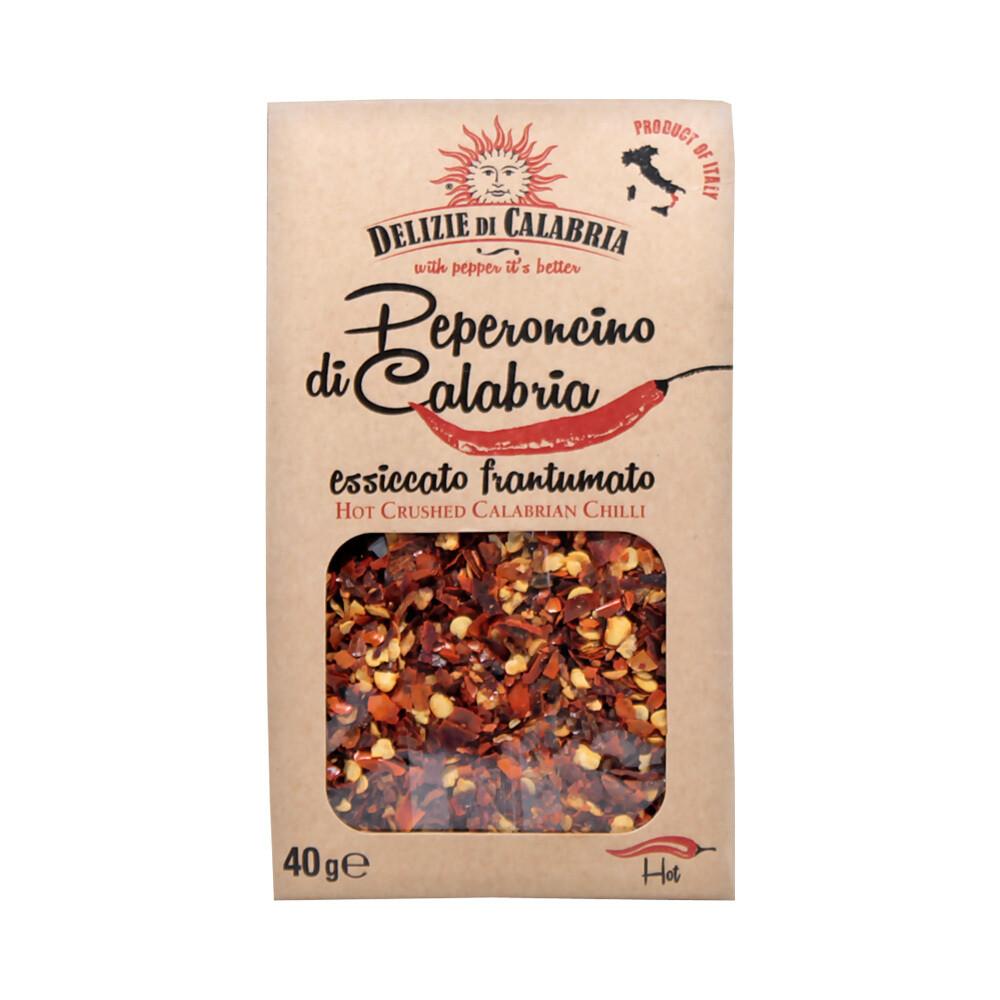 Kuiva Hienonnettu Peperoncino-pippuri   Dry Chopped Peperoncino   DELIZIE DI CALABRIA   40 g