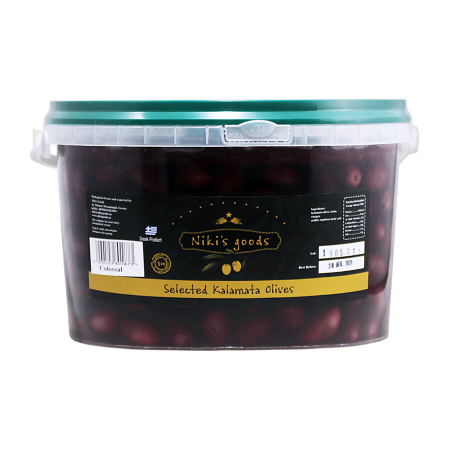 Kalamata Colossal Kivelliset Oliivit | Kalamata Colossal Whole Olives | NIKISGOODS | 5KG (DNW 3KG)