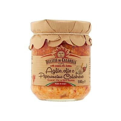 Valkosipuli- ja Peperoncino-pastakastike | Garlic & Peperoncino Pasta Sauce | DELIZIE DI CALABRIA | 180 G