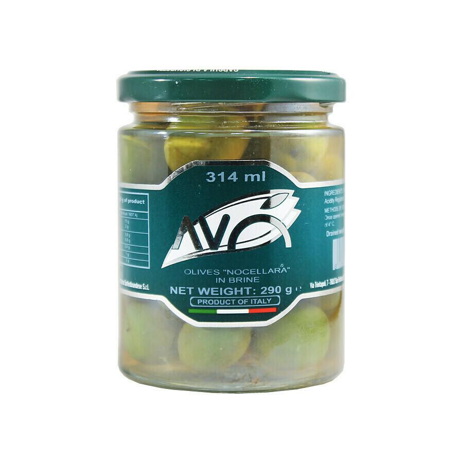 Nocellara oliivit suolavedessä | Nocellara Olives in Brine | AVO | 290g