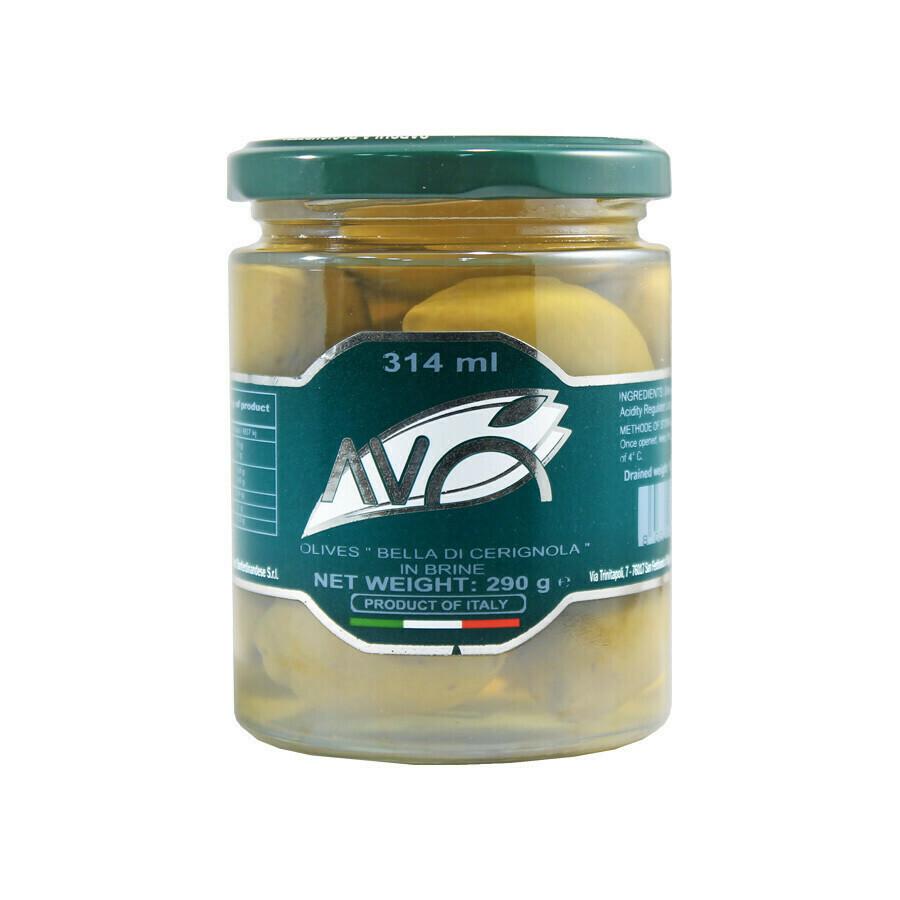 Bella di Cerignola suuret oliivit suolavedessä | Bella di Cerignola GGG Olives in Brine | AVO | 290g