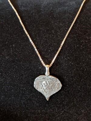 Whydah Coin Replica Heart Shaped Coin Pendant
