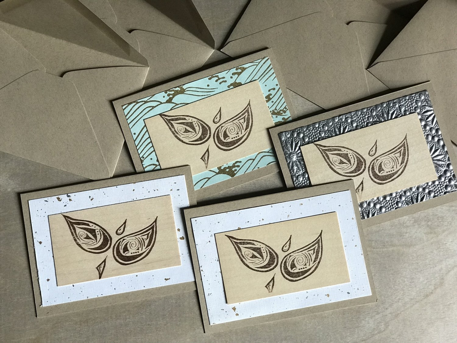 Set of 4 Pretty Little Birdie Cards