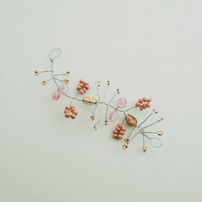 Rose Gold Leaf and Flower Hair Piece