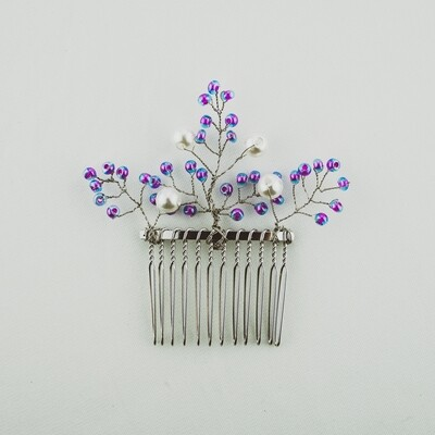Purple and Pearls Wire Comb Piece