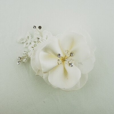 Silk Flower and Lace Hair Clip