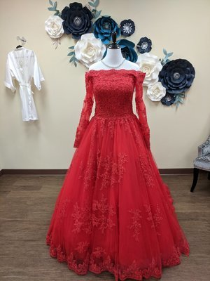 Red Off the Shoulder Ball Gown Size 14 - OFF THE RACK ONLY