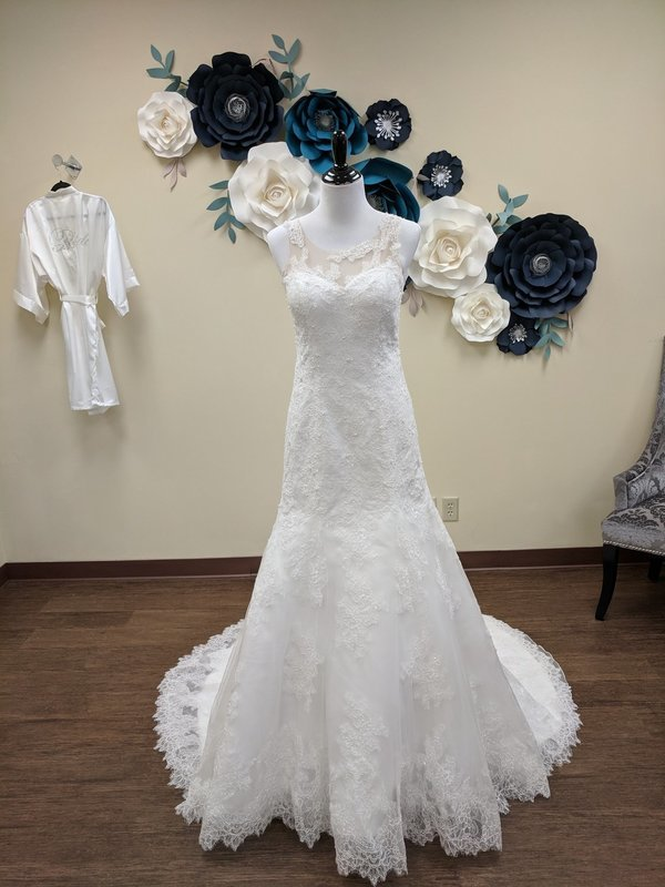 Trumpet Gown with Pearl Beading Sample Size 8/10 - OFF THE RACK ONLY