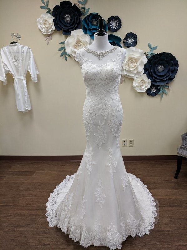 Mermaid with Beaded Neckline Size 4 - OFF THE RACK ONLY