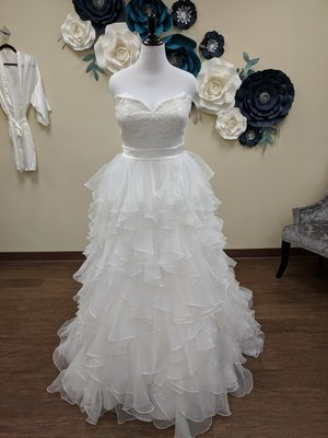 Strapless Lace and Ruffles Ball Gown Sample Size 8
