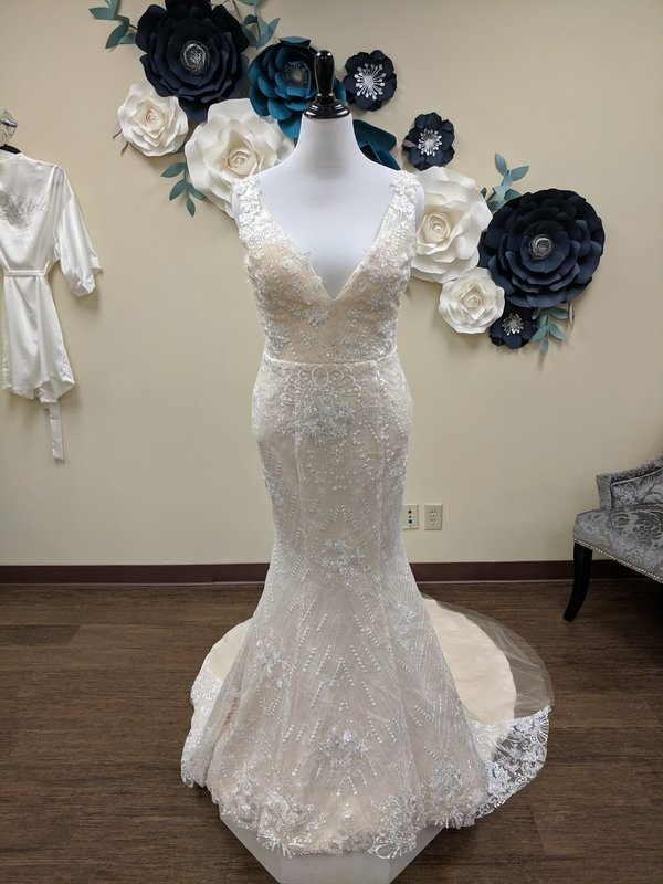 Champagne Mermaid Sequin Gown Sample Size 14