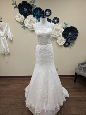 High Neck Mermaid Gown with Attached Belt Sample Size 10