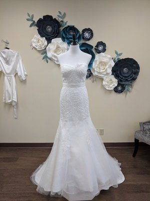 Mermaid Gown with Clear Beading Sample Size 8
