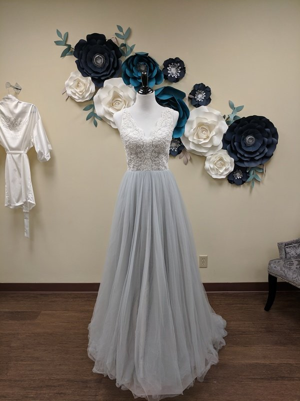Blue Tulle A-Line Gown With Belt Sample Size 8