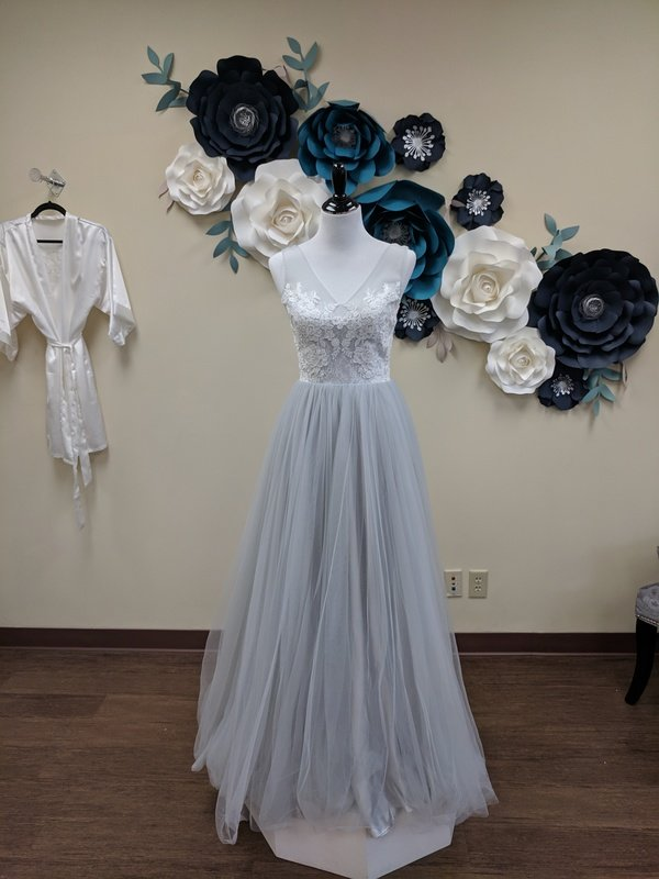 Lace Applique and Blue Tulle Gown Sample Size 6