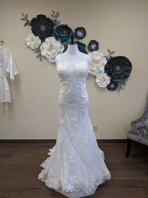 Spaghetti Strap Gown with Lace Detail Sample Size 24w
