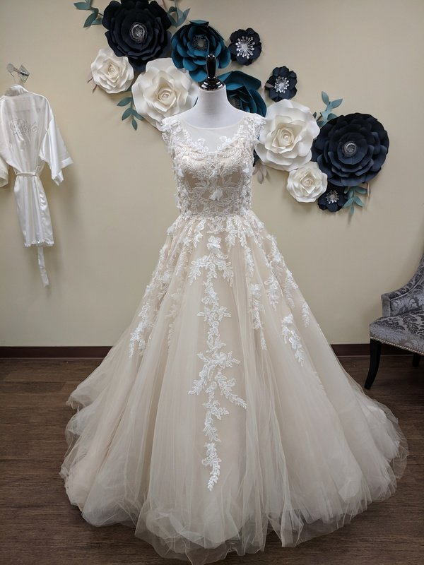Cream Ball Gown  with Appliques and Pockets Sample Size 8