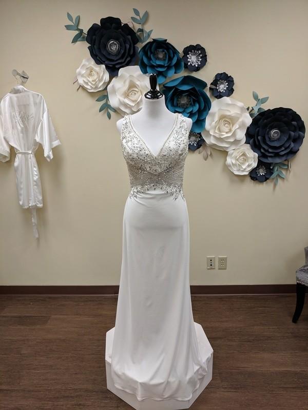 Heavy Beading Sheath Gown Sample Size 14