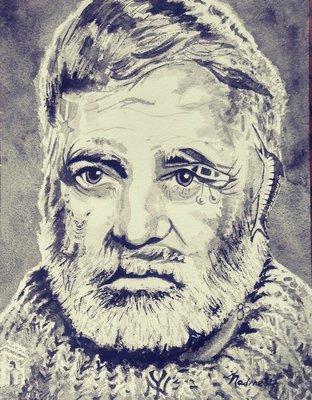 """Hemingway""  Watercolor Giclee Fine Art Print"