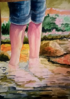 """SnowyGrass Legs""  Watercolor Giclee Fine Art Print"