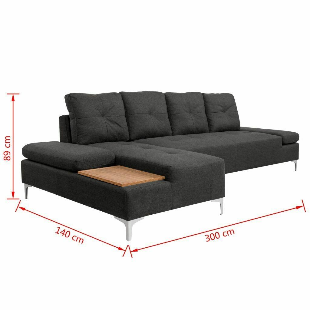 Canapé d'angle en Tissu Gris XXL avec palette en bois