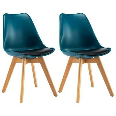 2 x chaises scandinaves Robuste TURQUOISE & NOIR