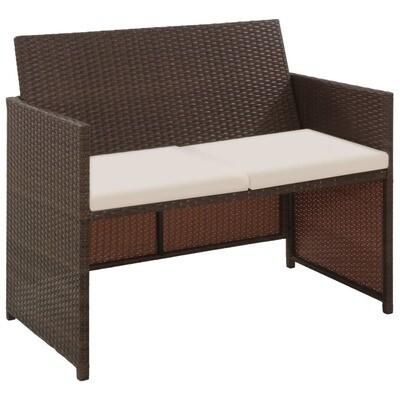 Canapé de jardin à 2 places avec coussins en Résine tressée