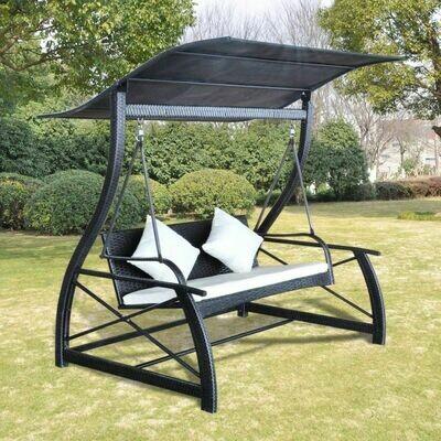 Balançoire de jardin en Rotin synthétique Noir