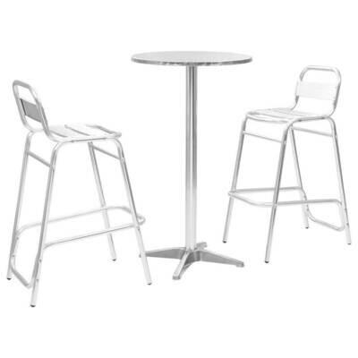 Ensemble de 3 pièces de bar avec table ronde Argenté en Aluminium