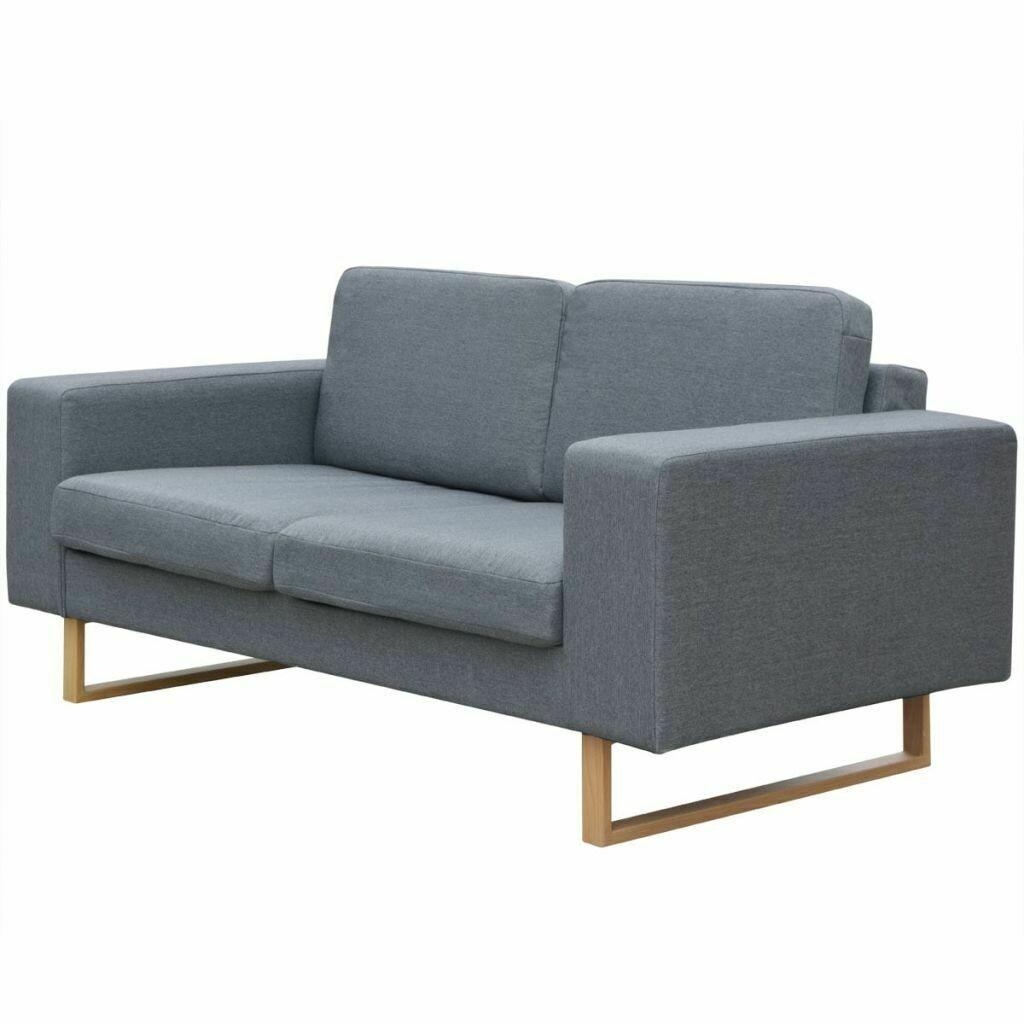 Canapé fixe 2 places en tissu gris clair