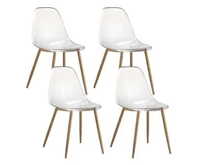 4 x Chaises scandinaves translucides & transparentes