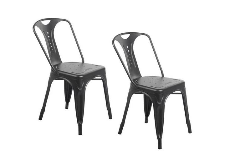 2 x Chaises industrielles en métal Epoxy NOIR MATE
