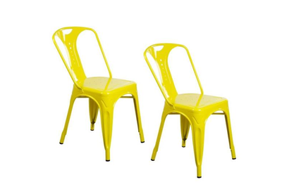 2 x Chaises industrielles en métal Epoxy JAUNE