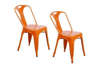 2 x Chaises industrielles en métal Epoxy ORANGE