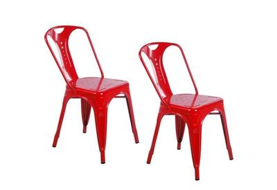 2 x Chaises industrielles en métal Epoxy ROUGE