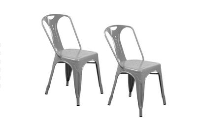 2 x Chaises industrielles en métal Epoxy GRIS
