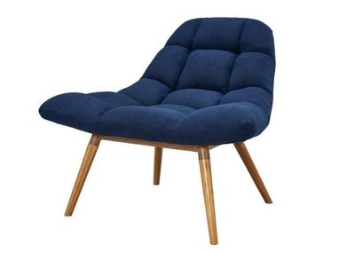 Fauteuil en tissu et pieds en bois robuste Bleu