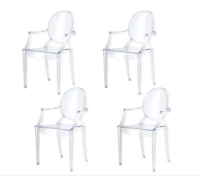 Lot de 4 Chaises Fantôme Plexiglas Bras empliables