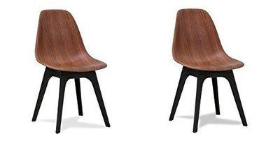 Lot de deux chaises rétro en bois Noyer